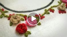 Neck embroidery designs for salwar kameez, kurthis, tops. Easy hand embroidery stitches for salwar Embroidery Flowers Pattern, Hand Embroidery Designs, Embroidery Kits, Ribbon Embroidery, Embroidery On Kurtis, Bordados E Cia, Embroidery Stitches Tutorial, Embroidery For Beginners, Salwar Kameez