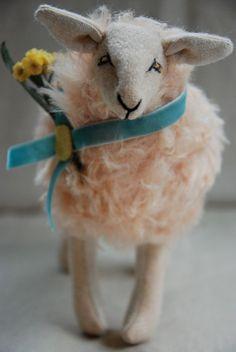 Blue Ribbon Sheep Hand Sewn Soft Sculpture by lovelyworldhandmade