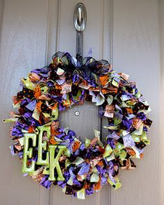 Halloween Wrag Wreath. Or you could do it with candy wrappers