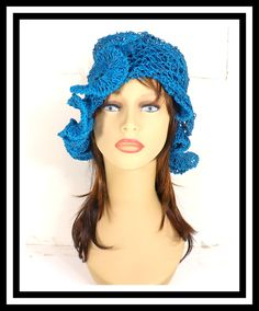 Turquoise Blue Crochet Hat Womens Hat Crochet Beanie Hat Hemp Cord Hat Turquoise Hat with Ruffle Hemp Sun Hat CYNTHIA Beanie Hat 50.00 USD by #strawberrycouture on #Etsy - MUST SEE!
