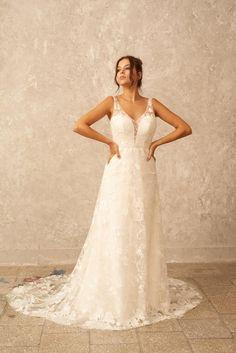 Boho Lace Wedding Dress Ivory Bridal Gown Open Back Dress | Etsy