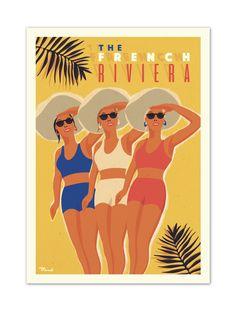 """€25 . Affiche Marcel """" The French Riviera """" . Papier 350g/m² Couché Mat"""