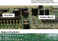 Diferencia visual entre la tecnología de inserción o de orificio pasante (through-hole; las patillas atraviesan la placa de circuito impreso o PCB; p. ej.: DIP/DIL, SIP, PGA) y la de montaje superficial (surface mount technology, SMT; las patillas no atraviesan la PCB; p. ej.: SOP, TSOP, QFP, CSP, LGA, BGA).
