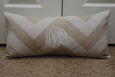 Monogrammed Chevron throw pillow in neutral colors...yes, please!