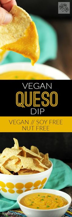 Vegan Queso Dip in 5 minutes! This easy recipe is so versatile—you'll find yourself using it to top everything! (vegan, soy free, nut free) via /frieddandelions/ Vegan Cheese Recipes, Vegan Sauces, Vegan Dessert Recipes, Vegan Dishes, Dip Recipes, Dairy Free Recipes, Vegan Recipes Easy, Easy Desserts, Snack Recipes