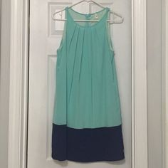 HELLO MISS - midi dress Teal and navy color block dress, worn once, hits just above the knee, zipper up back! Hello Miss Dresses Midi