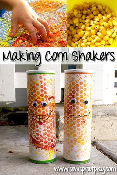 Music Craft for Kids - Making Corn Shakers. I love the ides of using empty Pringles cans to make shakers, the metal bottom would make a great sound kids would love. Thanksgiving Preschool, Fall Preschool, Preschool Crafts, Daycare Crafts, Toddler Crafts, Crafts For Kids, Arts And Crafts, Autumn Activities, Activities For Kids