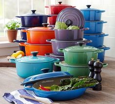 Le Creuset Pots in lovely colours