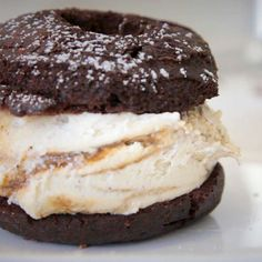 Donut plus ice cream equals Donut Ice Cream Sandwich @ Peter Pan Bakery in Brooklyn, NY