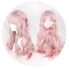 Gradual Change Pink Lolita Long Curly Wig SP178696