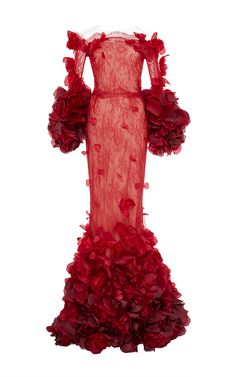 Ombré Chantilly Lace Fishtail Gown by Marchesa | Moda Operandi