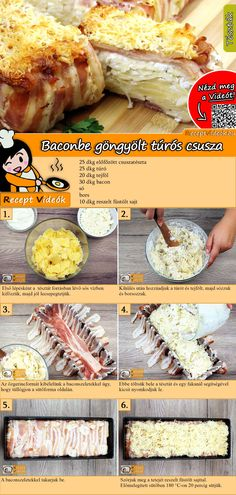 Baconbe göngyölt túrós csusza recept elkészítése videóval Pasta Recipes, Cooking Recipes, Healthy Recipes, Good Food, Yummy Food, Hungarian Recipes, Happy Foods, Winter Food, No Cook Meals