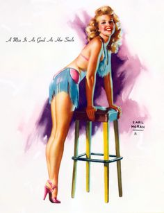 """Earl Moran - Girls of 1951 Calendar from Brown & Bigelow - """"A Miss Is As Good As Her Smile"""""""