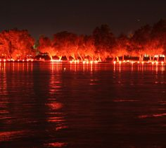 The Ring of Fire around Canandaigua Lake is an annual tradition. Most of the Finger Lakes here pick a date when all residents place lighted flares along the waterfront. It's a dramatic sight!