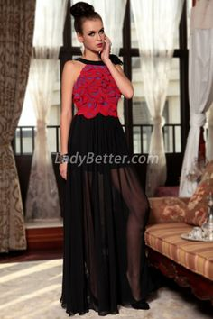 Red Petal and Black Chiffon Tie Halter Illusion Prom Dress