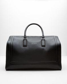 Raised edge leather holdall - Black | Bags | Ted Baker