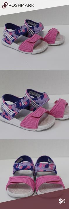 💕🦄 Adidas Sandals for Toddler Girl Very cute & lightweight Adidas sandals for a little girl. They are pink & purple. In good condition just need a little cleaning on the white part but it's not noticeable when they're on. adidas Shoes Sandals & Flip Flops