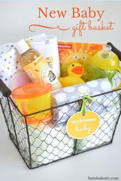 "Read it The new baby gift basket is the most adorable gift to give someone when they've just had a baby! With this free printable, putting it together is a ""breeze!"""
