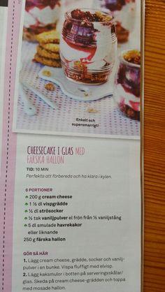 Cheesecake i glas med färska hallon