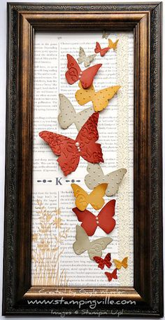 Handmade Mother's Day Gift ideas, Handmade gifts, DIY wall art, Stampin' Up! Beautiful Butterflies Big Shot Dies, how to make a butterfly wall hanging Butterfly Frame, Butterfly Crafts, Butterfly Artwork, Butterfly Mobile, Diy Projects To Try, Craft Projects, Art Papillon, Origami, Stampin Up