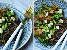 Soba nudle s křupavým tofu a burákovou omáčkou Delicious Blog, Lidl, Tofu, Asparagus, Green Beans, Food And Drink, Vegetables, Studs, Vegetable Recipes
