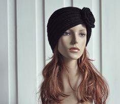 Hand Knit Hat  Wool  Beret Hat with crochet flower in by MaxMelody, $30.00