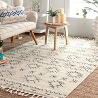 The Curated Nomad Ashbury Ivory Contemporary Geometric Diamond Check Tassel Area Rug (ivory - Rugs Usa, Buy Rugs, Machine Made Rugs, Rug Shapes, Contemporary Rugs, Geometric Rug, Round Rugs, Online Home Decor Stores, Colorful Rugs