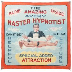 Master Hypnotist Banner by Fred G. Johnson is like a little piece of Coney Island #nyc #decor #inspiration
