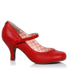 1950s Style Shoes Cherry Red Leatherette Bettie Retro Mary Jane Heels $68.00 AT vintagedancer.com