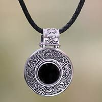 Novica -  Indonesian Onyx Sterling Silver Pendant Necklace, 'Midnight Beauty' by Kenari