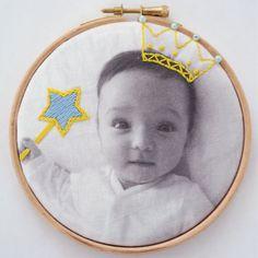 Baby child embroidered photo hoop art by DitzAndBobs on Etsy Crewel Embroidery Kits, Cross Stitch Embroidery, Embroidery Patterns, Embroidery Hoops, Nursery Modern, Modern Nurseries, Girl Nurseries, Baby Christening Gifts, Photo Craft