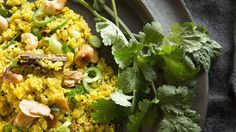 Indian-spiced cauliflower rice. Light and steamy: Devotees of cauliflower rice say it's heaven for those who can't eat grains. #LCHF #nograins #banting #timnoakes