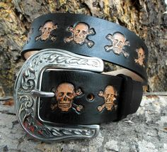 Leather Belt engraved with Skull and Crossbones by HiHorseRanch, $85.00