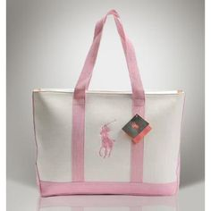 Ralph Lauren Big Pony Canvas Handbag Pink  beauty style/Ralph Lauren Leather Canvas Polo ToteOUTLET..$46.20