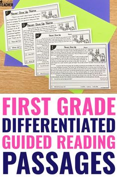These guided reading passages are themed and differentiated for the entire school year! The levels and topics make my schedule so much more simple and easier to manage. I can use them for kindergarten and first grade reading levels the whole year. Planning is done! Reading Comprehension Passages, Comprehension Activities, Reading Fluency, Reading Intervention, Phonics Activities, Guided Reading, Teaching Reading, Motor Activities, Learning