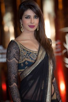 Priyanka Chopra Black Replica Saree Fabric - Viscose Georgette Color - Black  More details  Reference : VP15 http://valehri.com/new-arrivals/554-priyanka-chopra-black-replica-saree-.html