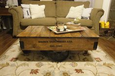 Inspired by a restoration hardware piece, this blog gives a step-by-step on how to make this factory cart coffee table.