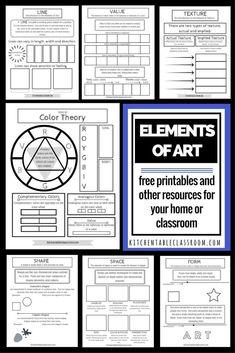 Elements of Art Middle School Art, Art School, High School, Classe D'art, 7 Arts, Art Handouts, Art Worksheets, School Art Projects, Art Club Projects