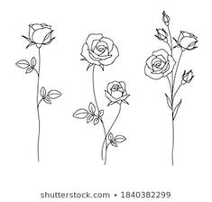 Rose Outline Drawing, Flower Outline Tattoo, Tatoo Floral, Floral Tattoo Design, Rose Drawing Simple, Small Star Tattoos, Hand Tattoos For Girls, Dainty Tattoos, Simple Flower Tattoo
