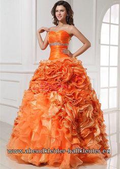 Ballkleid Rosie in Orange mit Corsage Brautkleid Farbig