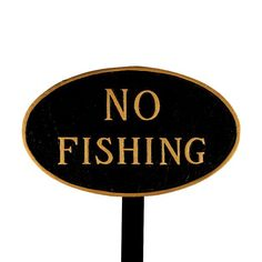 Montague Metal Products SP26SBGLS Standard Black and Gold No Fishing Oval Statement Plaque with 23Inch Lawn Stake * Learn more by visiting the image link.