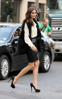 Leather skirt, fur vest, platform pumps, leather carry-all bag, Olivia Palmero Courtesy-Lion'esque Style via Justina Keel onto Lion'esque Looks