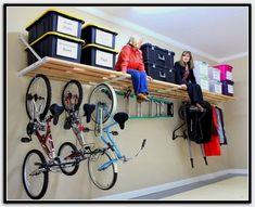 Declutter and garage organization hacks. You can have your garage decluttered in. Declutter and garage organization hacks. You can have your garage decluttered in no time with these Organisation Hacks, Garage Organization Systems, Garage Storage Shelves, Overhead Garage Storage, Garage Storage Solutions, Garage Shelf, Garage Doors, Kitchen Storage, Garage Workbench