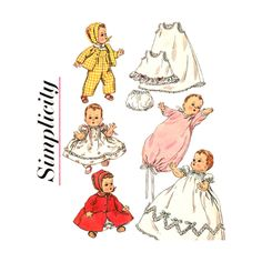 1950s Vintage Doll Clothes Pattern Simplicity 1844 Betsy Wetsy Tiny Tears 11 1/2 Inch Doll - product images  of