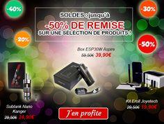#SOLDES jusqu'à -50% sur une large sélection de produits ! SUbtank Nano et Mini, box ESP30W...   Vite dépêchez-vous d'en profiter !  http://www.cigamania.com/destockage
