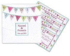 Pocketfold Summer / Winter Bunting WEDDING INVITATION INVITE INVITES STATIONERY
