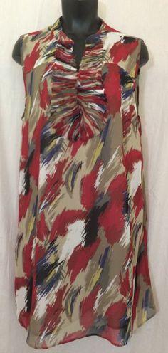 Style & Co. Dress Size 12 Multicolor Red Tan Watercolor Sleeveless Shift EUC #Styleco #Shift #Casual