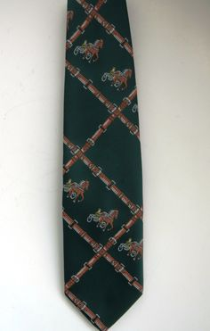 Harness Racing Necktie by J C Penney - Vintage Mens Necktie - Equestrian Tie - Horse Racing - Novelty Tie - Beau Brummell 1950s Collectible by shopgirls4 on Etsy