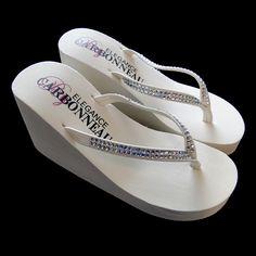 Ivory High Wedge Bridal Flip Flops with Crystal Straps--Affordable Elegance Bridal -
