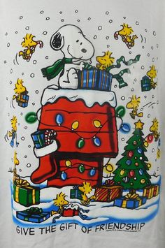 NWT Peanuts Snoopy Woodstock The Gift of Friendship Christmas T-shirt  L White  #Peanuts #graphicTee